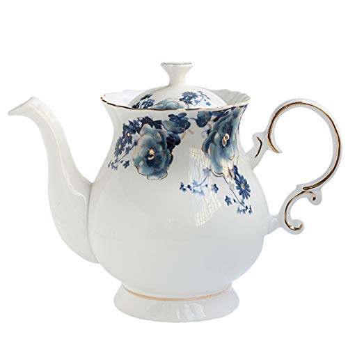 - Jomop European Style Ceramic Flower Teapot Coffee Pot Water Pot Porcelain Gift Petal Large 5.5 Cups (1, Blue and White)