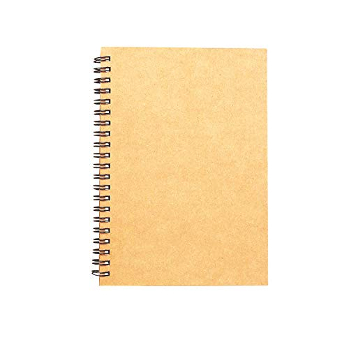 Spiral Sketch Book Kraft Cover Blank Sketch Pad Wirebound Sketching for Drawing Painting 8.5x11-Inch (1 Pack) 200 Pages/ 100 -