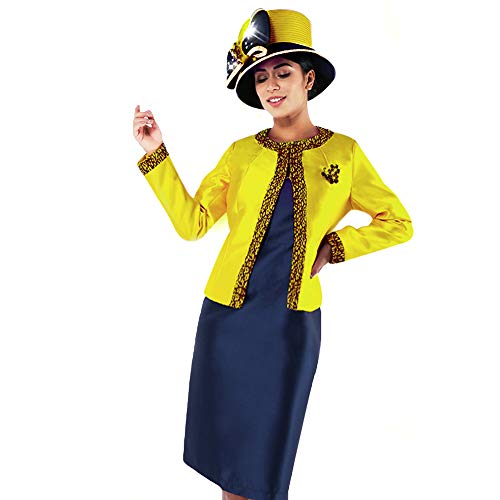 Kueeni Women Church Suits with Hats Church Dress Suit for Ladies Formal Church Clothes (Citron/Navy hat&Suit, 14)