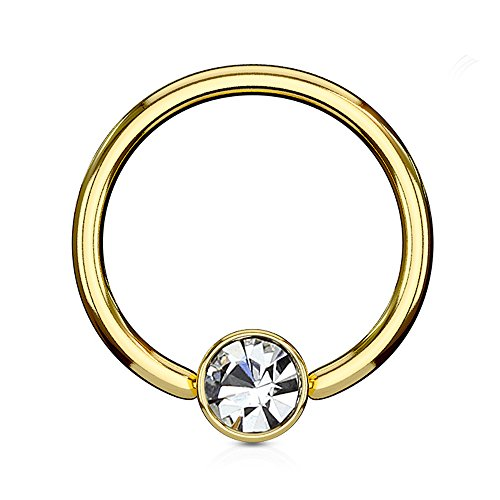 Inspiration Dezigns Golden Flat Cylinder Captive Bead Ring with Clear Gem (Sold Individually) (16G, L: 5/16