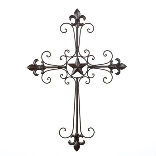 Fleur De Lis Stars (New Iron Wall Cross Lone Star Fleur De Lis Western Country Christian Decor)