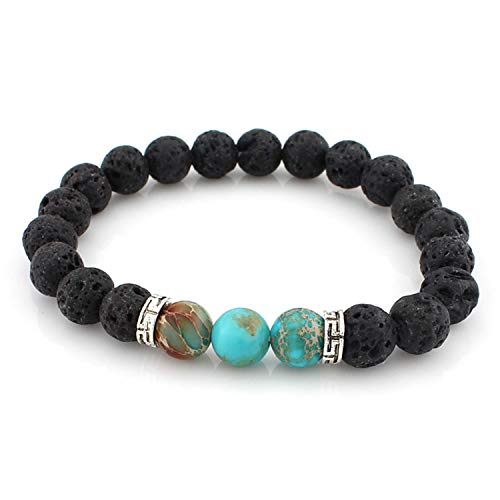 CUTEDAY Beads Jewelry for Men 8Mm Black Matte Lava Stone Beads Yoga Fitness Fashion Fit Life Bracelets Wholesale 4A107307 from CUTEDAY
