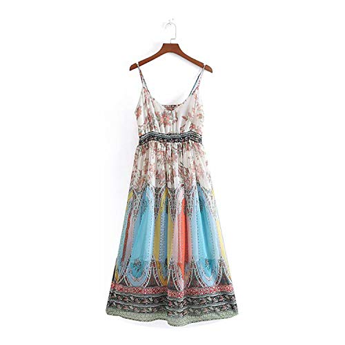 PREtty-2 high Street v Neck Court Flower Printing Casual Long Chiffon Dress Retro Waist Dresses DS2117,DS2117CC,M
