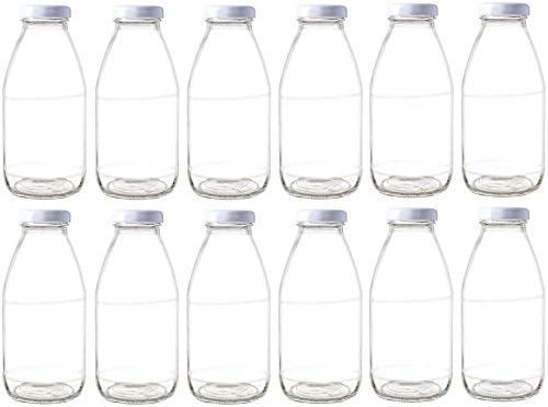 31d22abef82e Nakpunar 12 pcs 10 oz Glass Bottle with White Lid for Milk, Fruit Juice,  Water, Sauces