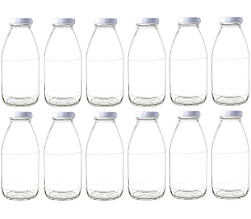 85d4a7f60c52 Nakpunar 12 pcs 10 oz Glass Bottle with White Lids
