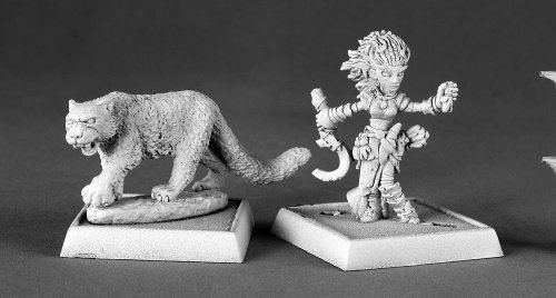Lini Iconic Gnome Druid and Droogami Snow Leopard Pathfinder Miniature