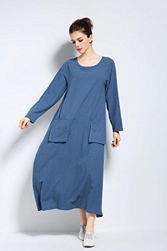 Cotton Pockets Spring Summer Blue Anysize Size Linen Dress Front Plus F132A Dress Dark Ow4tnWqTA