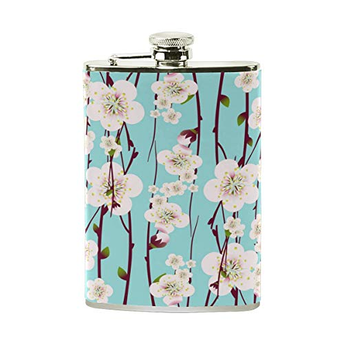 MISSMORN Cherry Blossom Stainless Steel Hip Flask 7 Oz Heavy Duty Pocket Flask PU Leather Wrapping Cover for Discrete Liquor Shot Drinking
