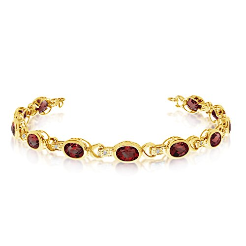 Oval Garnet and Diamond Link Bracelet 14k Yellow Gold (9.62ctw)