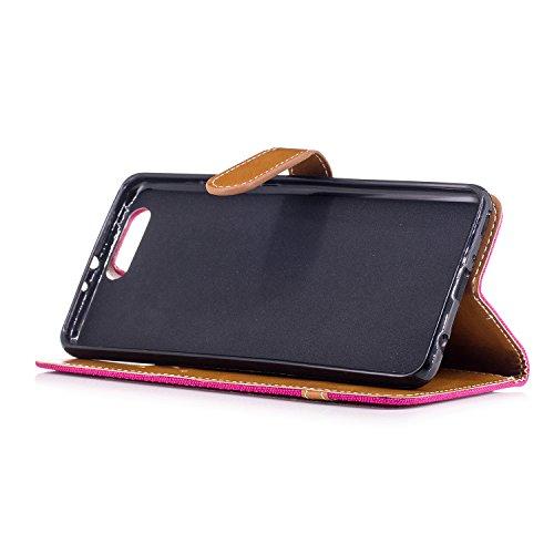 Para Huawei P10 Plus funda, (Vaquero color azul marino) Dril de algodón de colores mezclados caja del teléfono móvil de cuero PU Leather cubierta Función de Soporte Billetera con Tapa para Tarjetas co Vaquero rosa roja