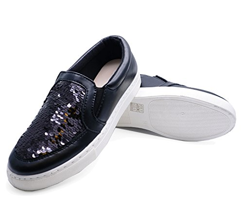 Shoes Slip Sequin On 8 Pumps Trainers Loafers plimsolls Black Sizes Flat Ladies 3 qzpgx
