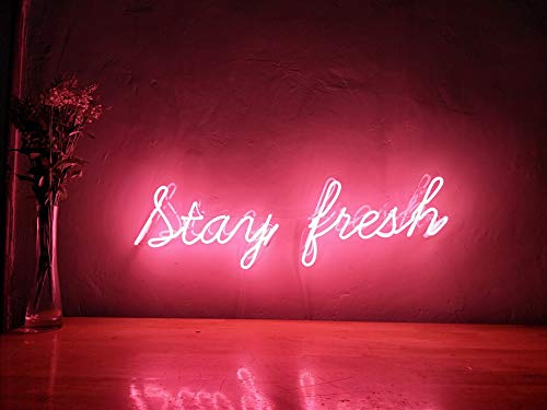 Stay Fresh Real Glass Neon Sign For Bedroom Garage Bar Man Cave Room Home Decor Handmade Artwork Visual Art Dimmable Wall Lighting Includes - Neon Authentic Sign