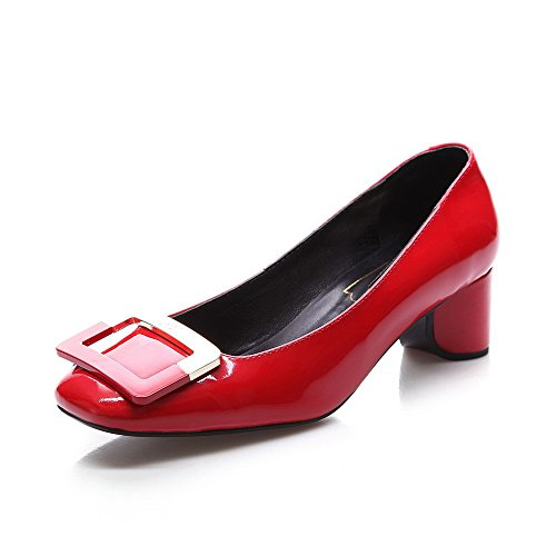 WeiPoot Women's Patent Leather Solid Pull On Square Close...