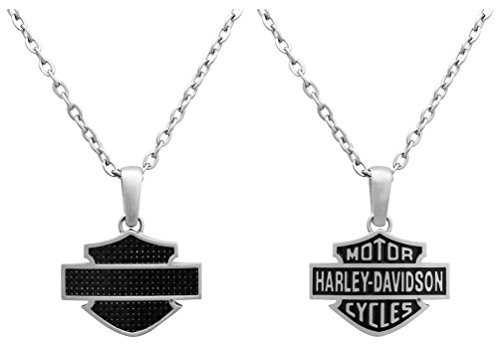 Harley-Davidson Mens Necklace, Steel & Carbon Fiber Bar & Shield Logo HSN0006-22 - Harley Davidson Carbon