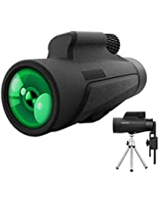 SpinAmz Monocular Telescope,12X50 High Powered Monocular Scope with Phone Adapter and Tripod, Waterproof BAK4 Prism FMC Lens for Outdoor, Bird Watching, Hunting, Camping, Travel (12 * 50)
