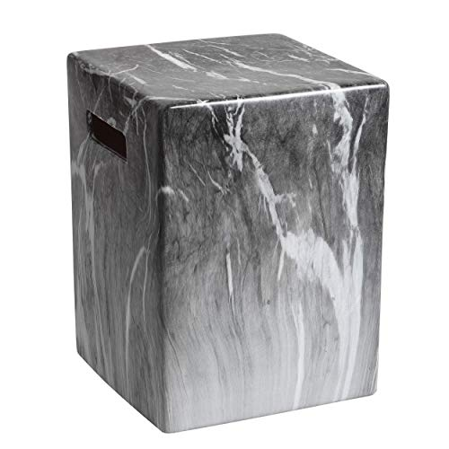 (Safavieh ACS4572A Castle Collection Avila Marble Garden Stool, Dark Grey )
