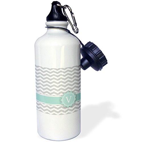 "3dRose wb_154241_1 ""Letter V monogrammed on grey and white chevron with mint-gray zigzags-personal initial zig zags"" Sports Water Bottle, 21 oz, White"