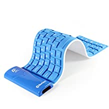 YUMQUA KB-6116 Portable Silicon Flexible Foldable Bluetooth Keyboard Ultra-slim Wireless Waterproof Keyboard for Android, IOS, Windows Tablet PC Mobile Phone Blue