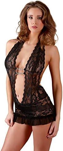 Cotelli Collection Spitzenkleid - verführerisches Minikleid mit String, Spitzen-Reizwäsche, figurbetontes Dessous-Kleid mit tiefem Ausschnitt, schwarz