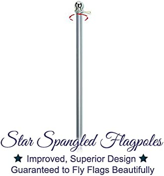 6 Foot Silver Brushed Aluminum No Tangle Spinning Flagpole with and Flag Pole