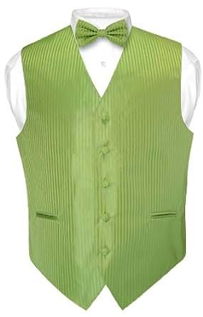 Men's Dress Vest & BOWTie SPINACH GREEN Vertical Striped Design Bow Tie Set XS