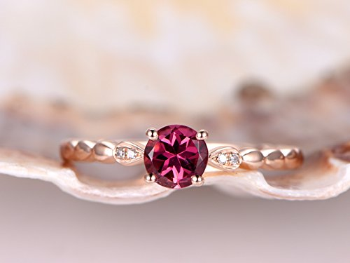 14k-rose-gold-natural-5x5mm-round-cut-pink-tourmaline-stone-diamond-ball-prong-accent-plain-band-ant