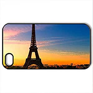 paris sunset, - Case Cover for iPhone 4 and 4s (Watercolor style, Black)