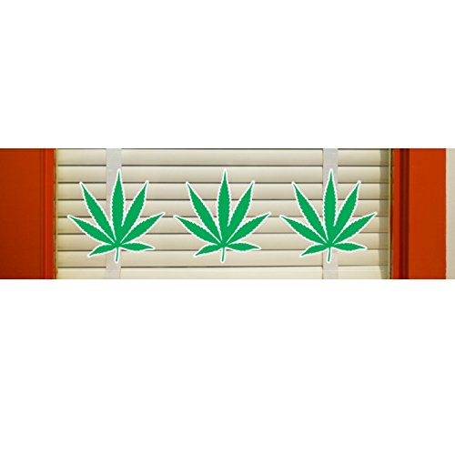 Hemp Leaf Window Clings - Set of 24 by Jantec Sign Group