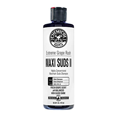 Chemical Guys CWS_1010_16 Maxi-Suds II Super Suds Car Wash Soap and Shampoo, Grape Scent (16 oz) -