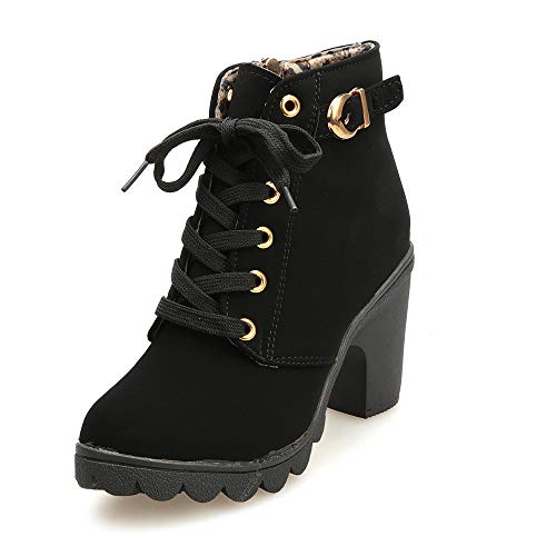 Nevera Womens Fashion High Heel Lace Up Ankle Boots Ladies Buckle Platform Shoes Black ()