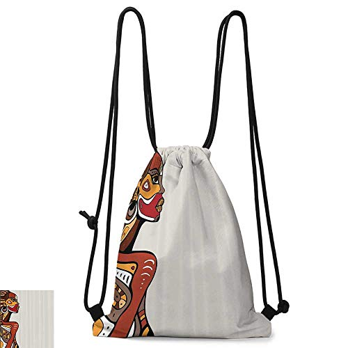 Custom backpack African Decorations Profile of Sexy African Lady with Different Tattoos on Her Body and Face Stylish Print W14