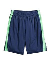 Tek Gear Boys Dry Tek Shorts, Hits Above The Knee, Navy with Irish Green Stripe, Large (14-16)
