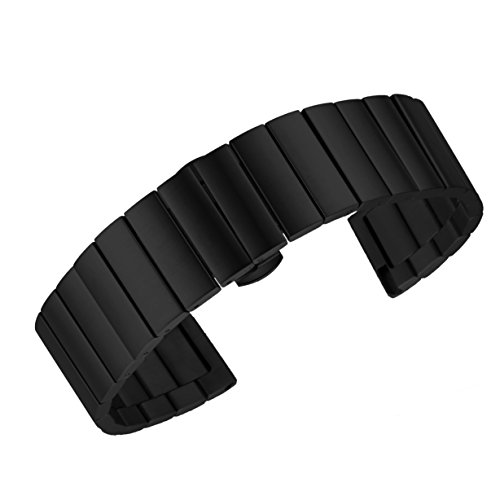 16mm Noble Black Metal Watch Straps for Women Luxury Stainless Steel Watch Bracelets Brushed Solid (Esq Black Watch)