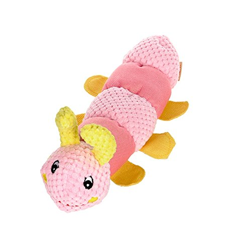 Stock Show 1Pc Pet Squeak Toy Plush Cartoon Caterpillar Shape Teeth Cleaning Massager Playtoy for Small Medium Dog Cat, Pink