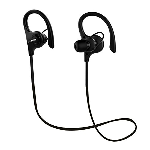 Bluetooth Headphones, Lobkin Wireless Sports Earphones w/ Mic IPX7 Waterproof HD Stereo Sweatproof In Ear Earbuds for Gym Running Workout 8 Hour Battery Noise Cancelling Headsets