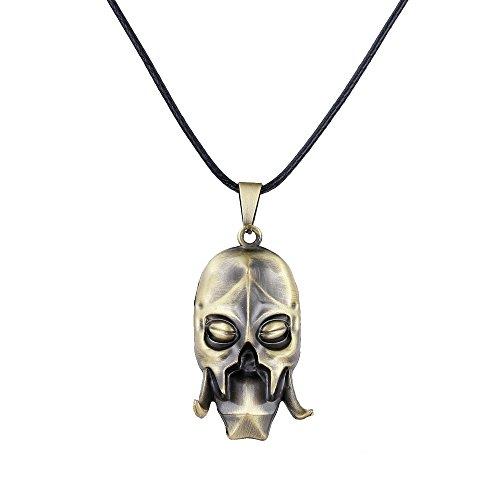 LUREME Vintage Mask Necklace for Fans Costume Jewelry-Antique Bronze -