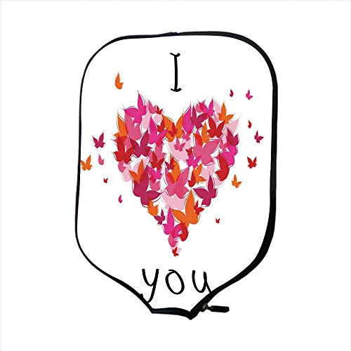 (Neoprene Pickleball Paddle Racket Cover Case,Love Decor,Stylish Heart Figure Filled with Butterflies Soul Mate Real True Deep My Dear Love Illustration ,Multi,Fit For Most Rackets - Protect Your Paddl)