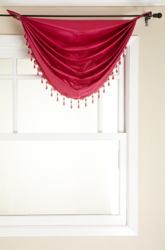 Stylemaster Tribeca Faux Silk Grommet Waterfall Valance with Beaded Trim, Fuchsia, 36 by 37-Inch (Fuchsia Beaded Trim)