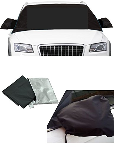 WINDSHIELD SNOW ICE COVER Protector w/ MIRROR COVERS Protector - Frost Window Cover MAGNETIC EDGES- Snow, Ice, Frost Guard No More Scraping
