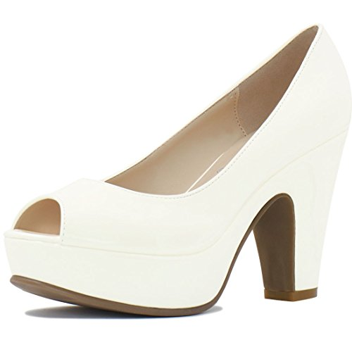 Allegra K Women's Peep Toe Chunky Heel Platform Patent Pumps (Size US 6) Off White Patent Platform Peep Toe Pumps