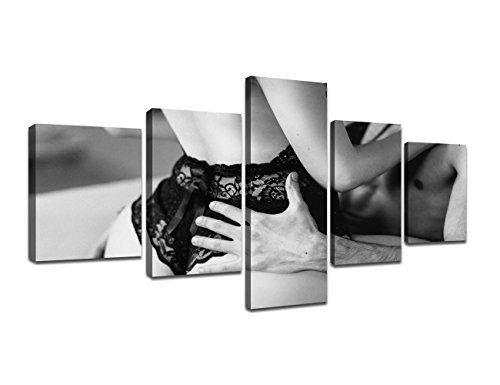 Modern Canvas Painting for Bedroom Wall Decor Black and White Naked Couple Artwork Home Decor Prints and Poster Sexy Nude Couple Intimate Pictures Gifts Set Wooden Framed Ready to Hang (50''W x 24''H) (Sexy Black And White Photos Of Couples)