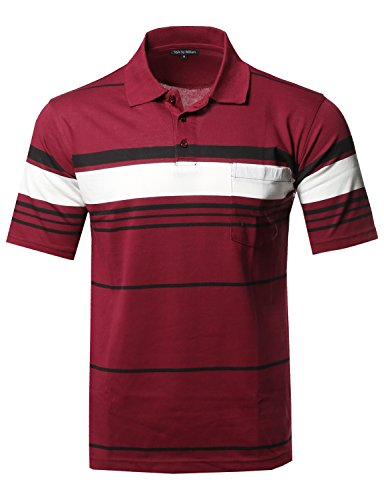 Style by William Basic Everyday Stripe Chest Pocket Polo T-Shirt Burgundy XL ()