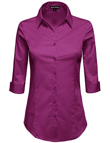 MAYSIX APPAREL Womens 3/4 Sleeve Stretchy Button Down Collar Office Formal Shirt Blouse Magenta (Folded Collar Long Sleeve)