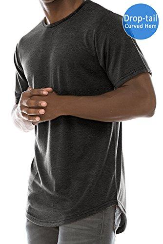(JC DISTRO Mens Hipster Hip Hop Basic Elong Crewneck T-Shirt HBLACK XLarge)