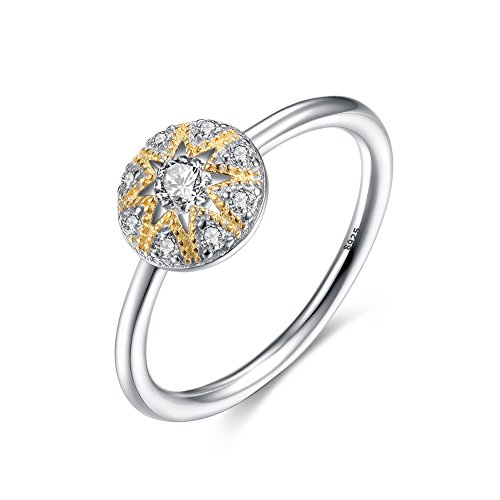Sun Round Ring (Round Sun Moon Star Band Ring in Gold Rhodium 2-Tone Finish Sterling Silver 925 w/Cubic Zirconia[Size 7])