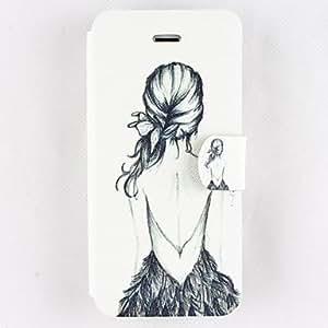 CECT STOCK Patrón hermoso de la Clamshell PU funda de piel de cuerpo completo con ranura para tarjeta para iPhone5/5S