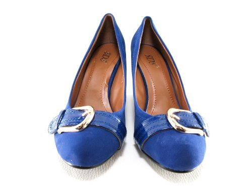 Damen Keilabsatz Wedges Pumps Blue # 7835