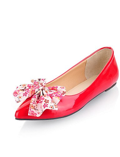 Festivität Kleid red us8 amp; Flacher Lackleder Hochzeit Spitzschuh cn39 Schwarz uk6 Absatz eu39 Lässig Rot PDX Party Ballerinas Damenschuhe FWnqxC4