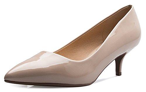 ShoBeautiful Women's Low Heel Stiletto Pump Slip On Sexy Office Business Kitten Heel Fashion Dress Shoes ML05 Beige 6