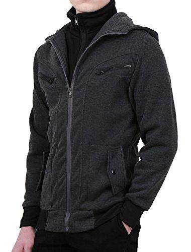 uxcell Men Layered Design Zip Up Hoodies Jackets Dark Gray M US 38